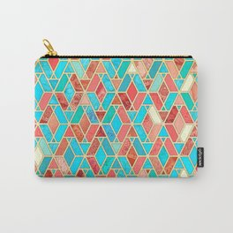 Melon and Aqua Geometric Tile Pattern Carry-All Pouch