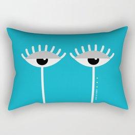 Unamused Eyes   White on Blue Rectangular Pillow