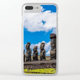 Moai Monolithics on Easter Island Clear iPhone Case