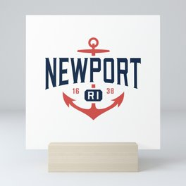 Nautical Newport Rhode Island T-Shirt, RI Vacation Tee Mini Art Print