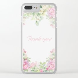 Thank you quote & Rose flowers Clear iPhone Case