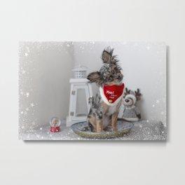 Cute Santa Chihuahua Puppy Metal Print