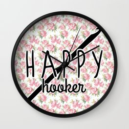 funny crochet vintage floral happy hooker Wall Clock