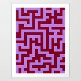 Lavender Violet and Burgundy Red Labyrinth Art Print