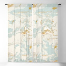 Marble - Cream & Blue Blackout Curtain