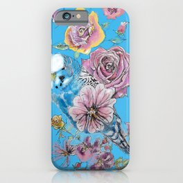 Blue Budgie and Roses Watercolor on Light Blue iPhone Case