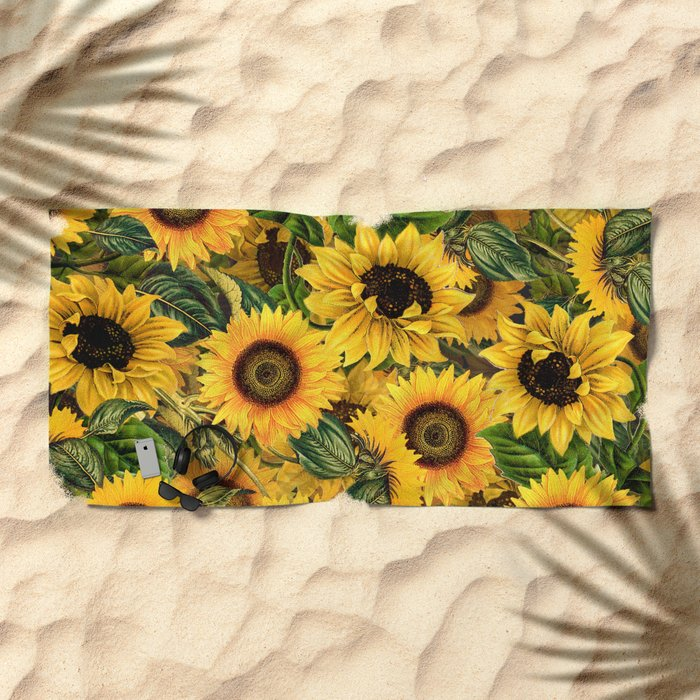 Vintage Shabby Chic Noon Sunflowers Garden Beach Towel By