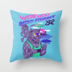 Werewolf Beach Frisbee Throw Pillow