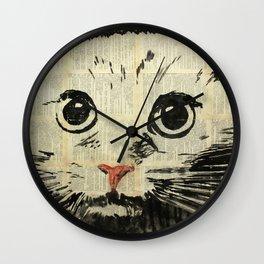 Night ,cat and an outdoor fridge . Wall Clock