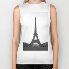 Eiffel Tower in black and white Biker Tank