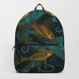 Golden Fish, Black Teal, Underwater Art Backpack