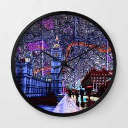 Maps of London, England Skyline of Big Ben and Parliament Wall Clock