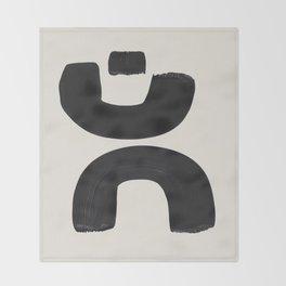 Mid Century Modern Minimalist Abstract Art Brush Strokes Black & White Ink Art Tribal Marking Throw Blanket