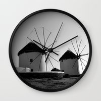regina mills Wall Clocks featuring Wind mills by Regina Trifeau