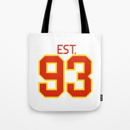 Est. 93 in red and gold Tote Bag