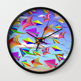 Kites Rainbow Colors in the Wind Wall Clock