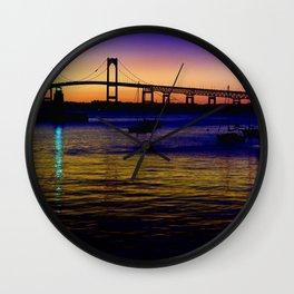 Newport Bridge - Newport, Rhode Island Purple Sunset Wall Clock