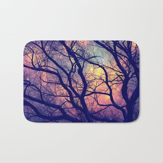 Black Trees Deep Pastels Space Bath Mat