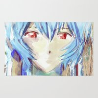 evangelion Area & Throw Rugs featuring Rei Ayanami from Evangelion Digital Mixed Media by Barrett Biggers