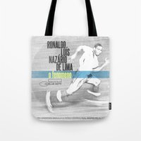 ronaldo Tote Bags featuring LPFC: Ronaldo by James Campbell Taylor