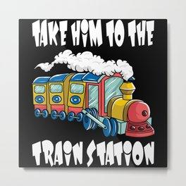 Children's Railway Locomotive Station Train Motif Metal Print