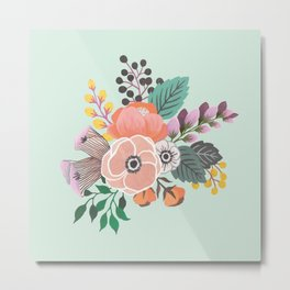 Soft Florals on Mint Metal Print