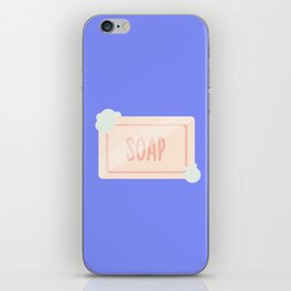 Pink piece of soap with bubbles iPhone Skin