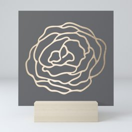 Rose White Gold Sands on Storm Gray Mini Art Print