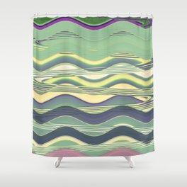 Light Green Waves Shower Curtain