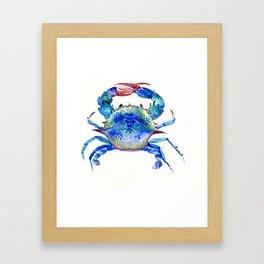 Blue Crab, crab restaurant seafood design art Framed Art Print