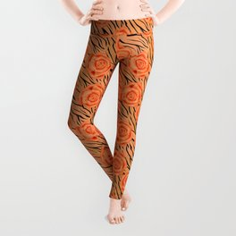 Orange roses on tiger pattern . Leggings