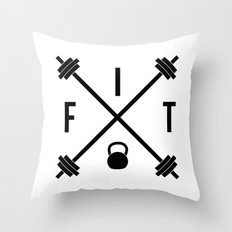 Hipster Fit Gym Quote Throw Pillow