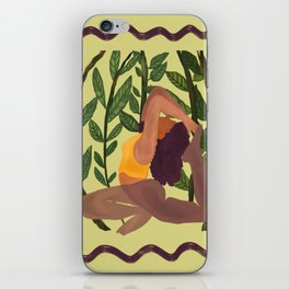 Yoga with plant background iPhone Skin