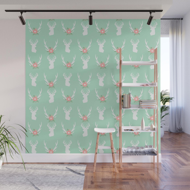 Deer Antlers Head Silhouette Cute Modern Minimal Nature Inspired Nursery Decor Wall Mural
