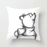pooh Throw Pillows featuring Insightful Pooh by Makayla Wilkerson