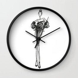 Charcoaled Fashion Illustration Wall Clock