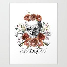 SSDGM skull and flowers Art Print