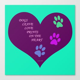 Dogs Leave Love Prints On The Heart By Annie Zeno  Canvas Print