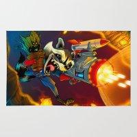 groot Area & Throw Rugs featuring Rocket & Groot by Atomic Spork