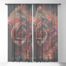 Fluid Nature - Marbled Red Rose Sheer Curtain