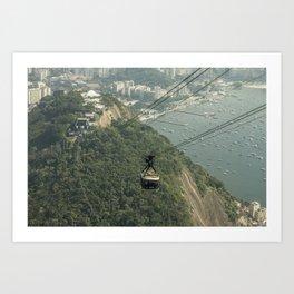 Sugarloaf Rock Cable Car At Rio De Janeiro Brazil Art Print