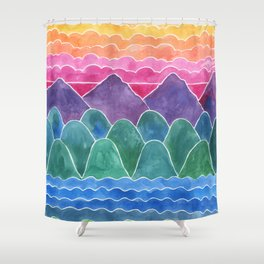 The Happy Place Watercolor Landscape Painting Shower Curtain