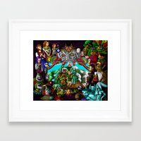 majoras mask Framed Art Prints featuring Majoras mask by Rowena White