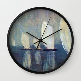 Sailboats on Mirrored Glass Seas nautical landscape by Mikalojus Konstantinas Ciurlionis Wall Clock