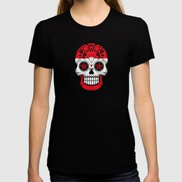 Sugar Skull with Roses and Flag of Austria T-shirt
