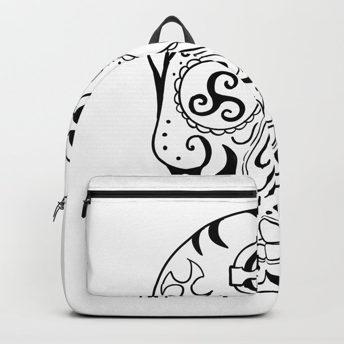 Mexican Skull Triskele Celtic Cross Tattoo Backpack By Patrimonio