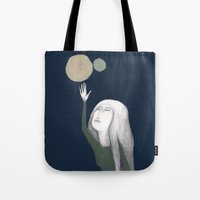 murakami Tote Bags featuring two moons by martina troise