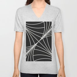 Diamond Series Round Wave White on Charcoal Unisex V-Neck