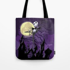 Halloween Purple Sky with jack skellington iPhone 4 4s 5 5c, ipod, ipad, pillow case tshirt and mugs Tote Bag