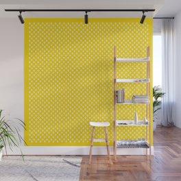Tiny Paw Prints Pattern - Bright Yellow & White Wall Mural